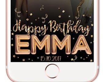 Snapchat Filter Birthday, Snapchat Geofilter, Birthday Geofilter, Snapchat Birthday, Snap Filter, Birthday Filter, Gold Snapchat Filter