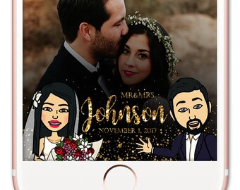 Bitmoji Snapchat Filter Wedding, Cartoon Snapchat Wedding, Wedding Snapchat Geofilter, Wedding Snapchat Filter, Custom Wedding Filter