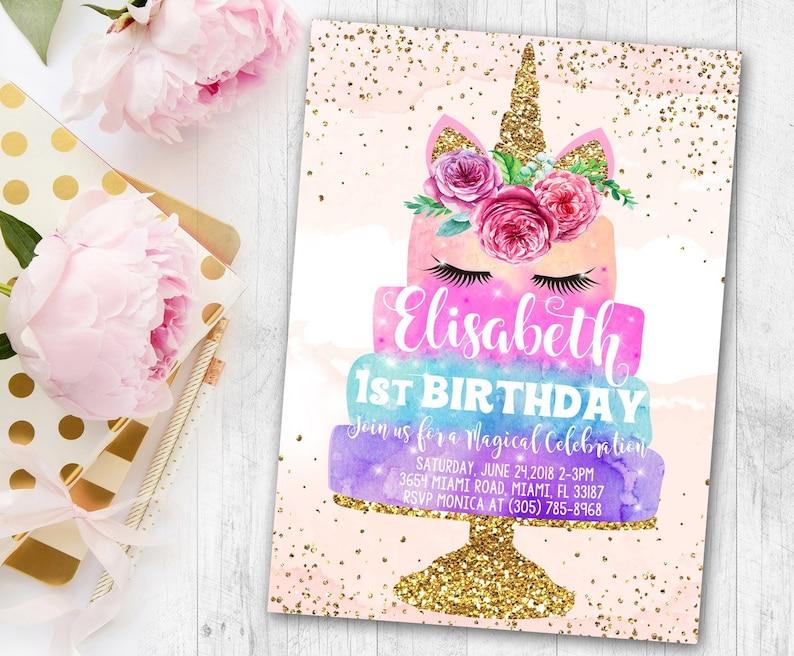 Free Thank You Cards Invitation Unicorn Birthday