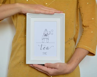 TEA TIME print modern, paintings with written, motivational, tea time, minimal, modern paintings prints, black and white