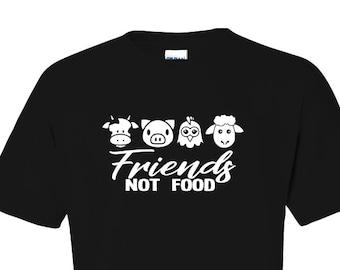 Vegan Friends Not Food One Color T-Shirt - Bold Graphics Original Design Vegetarian Fashion Design