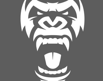 Gorilla Roar Die Cut One Color Decal Window Bumper Sticker Car Decor Wall Monkey Ape