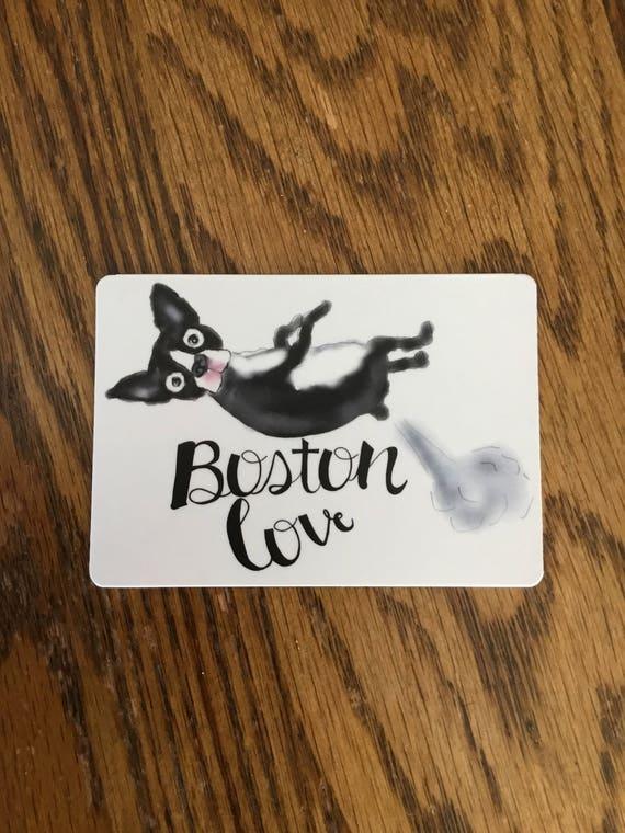 """BOSTON TERRIER Love is Black and White  Fridge Magnet 4/"""" x 3/"""""""
