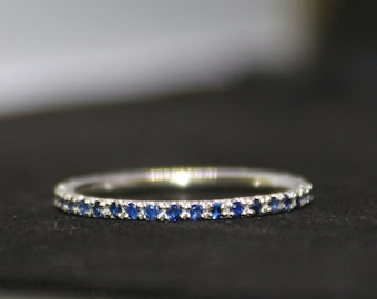 Blue Sapphire full eternity band in Sterling Silver Ring