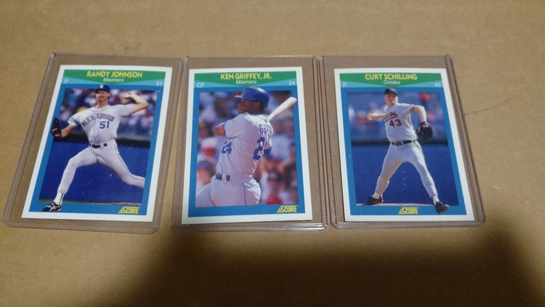Ten Score 1989 Pristine Baseball Cards In Sleeves Including Ken Griffey Jr Randy Johnson And Curt Schilling