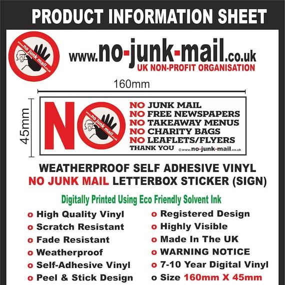 No Junk Mail Sign - LIT No Junk Mail Vinyl Letterbox Sticker Mailbox Sign