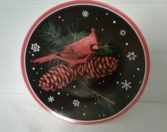 Red cardinal painted plate
