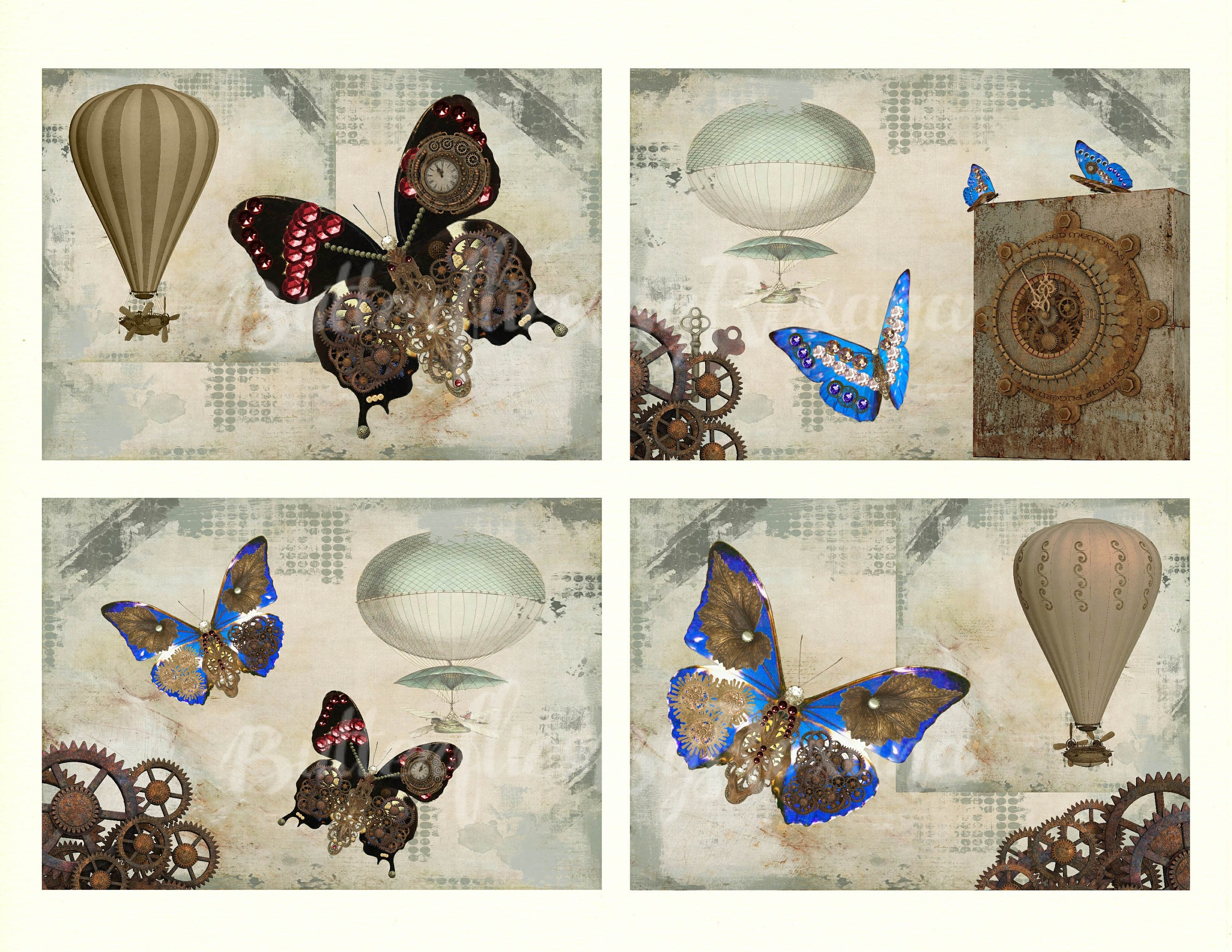 Steampunk Art Cards Greeting Cards Set Of 4 Each 5x35 Inch