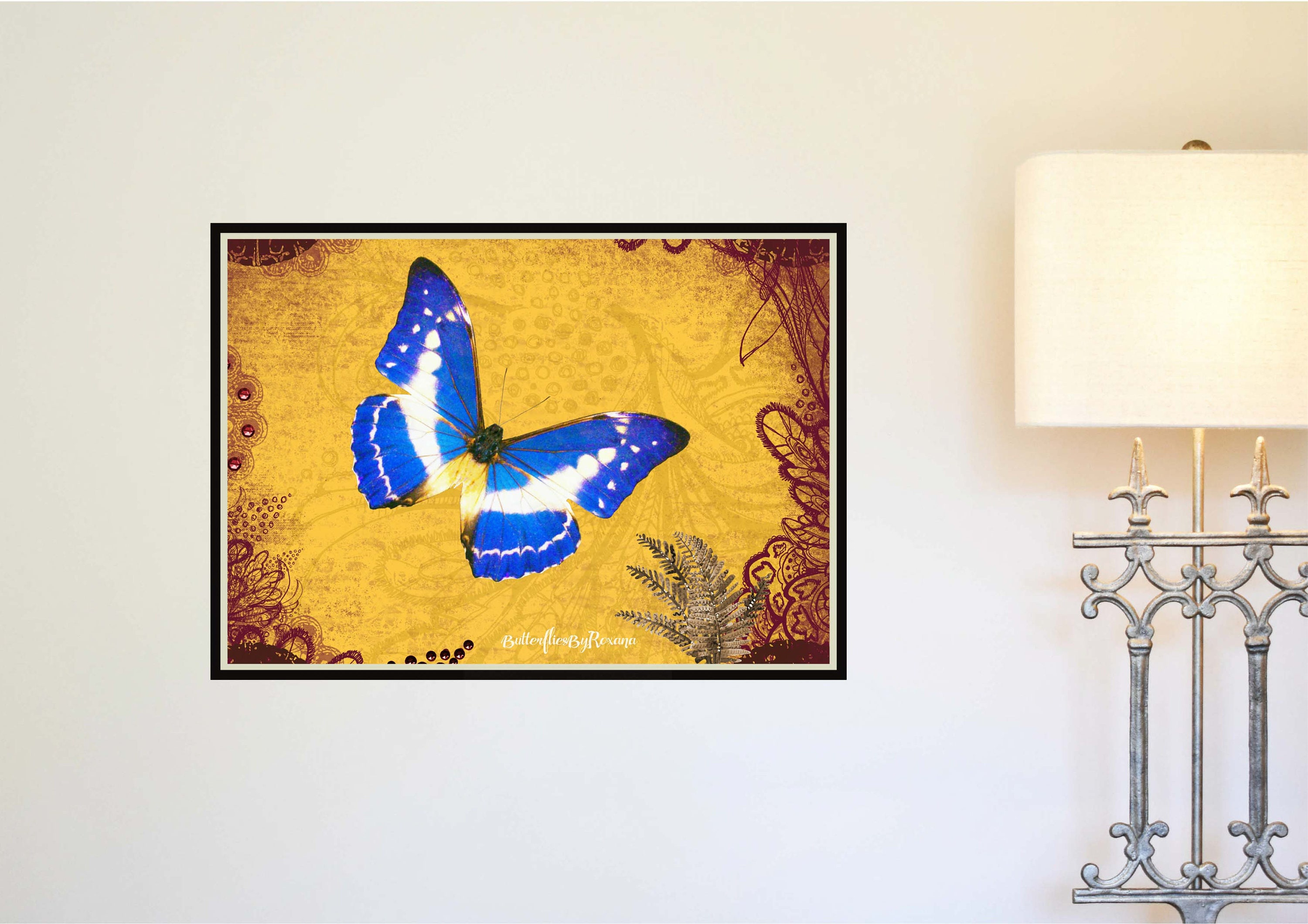 Morpho Butterfly Digital art print Wall art Boho style Home/Office ...