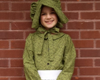 Green Floral Prairie Pioneer Costume Girls' Size 10/12