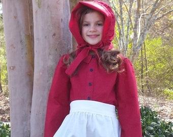 Prairie Pioneer Dress with Apron & Bonnet size 8/10