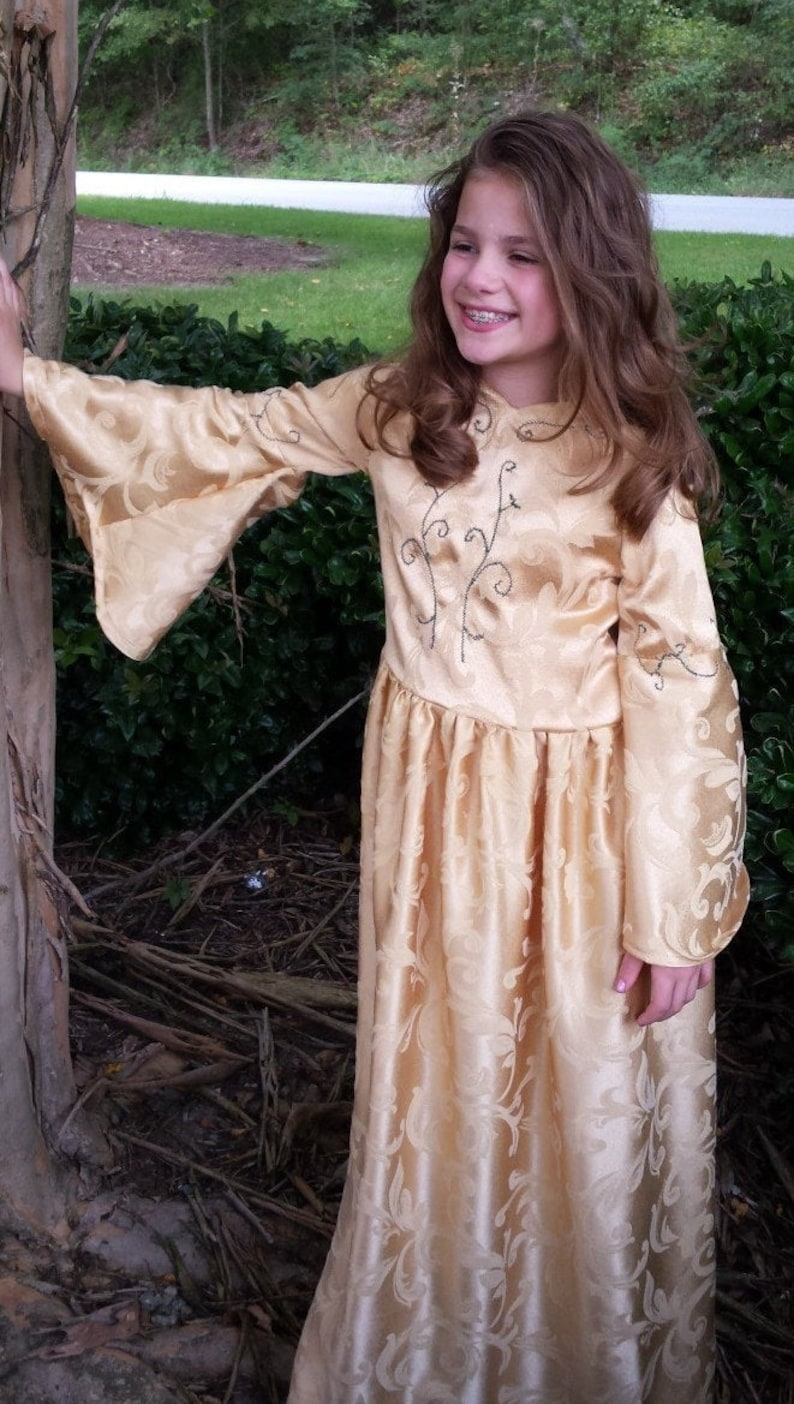 Gold Medieval Renaissance Embroidered Costume size 1012