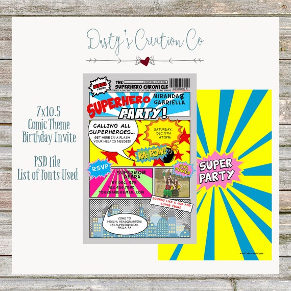Comic Theme Birthday Invitation Girl