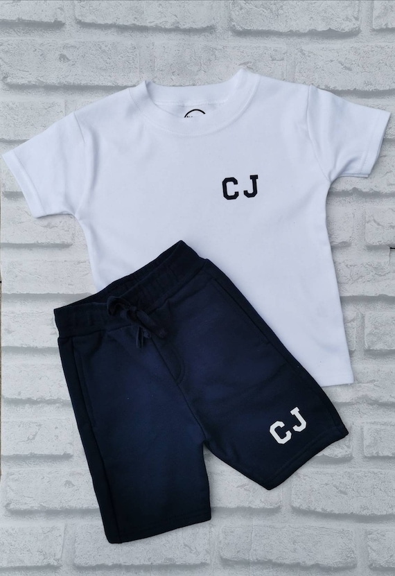 Personalised Name Shorts and T-shirt Toddle Tracksuit Kids Personalised Set Blac