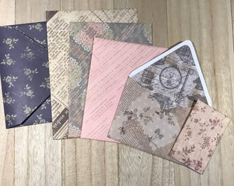 Set of six assorted lined envelopes