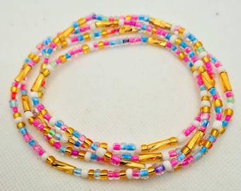 Weight Tracker Ghana beads Nigerian waist beads Multi colours Waist Beads On Sale Belly Chain Weight control African beads belly beads