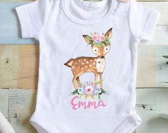 Boho Baby Clothes Deer Bodysuit Boho Deer Boho Bodysuit Baby Shower Gift Girl Baby Shower Gift Deer Shirt Deer Bodysuits Boho Deer Bodysuit