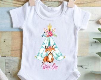 Fox Bodysuit Boho Fox Boho Bodysuit Boho Baby Clothes Baby Shower Gift Girl Baby Shower Gift Fox Shirt Fox Bodysuits Fox Teepee Bodysuit