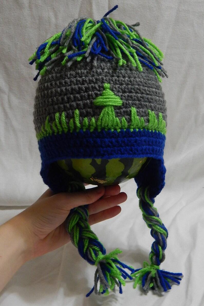Seattle Seahawks Babytoddler Crocheted Hat Seattle Skyline Etsy
