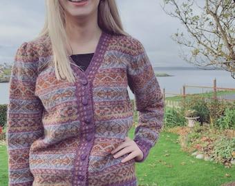 Hand Knitted Fair Isle Cardigan, Shetland Wool