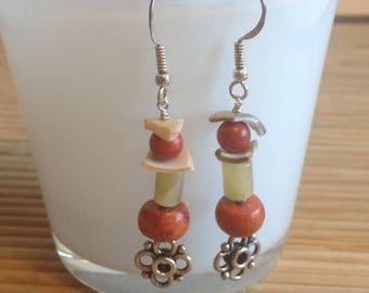 Silver earrings with natural stones and shell