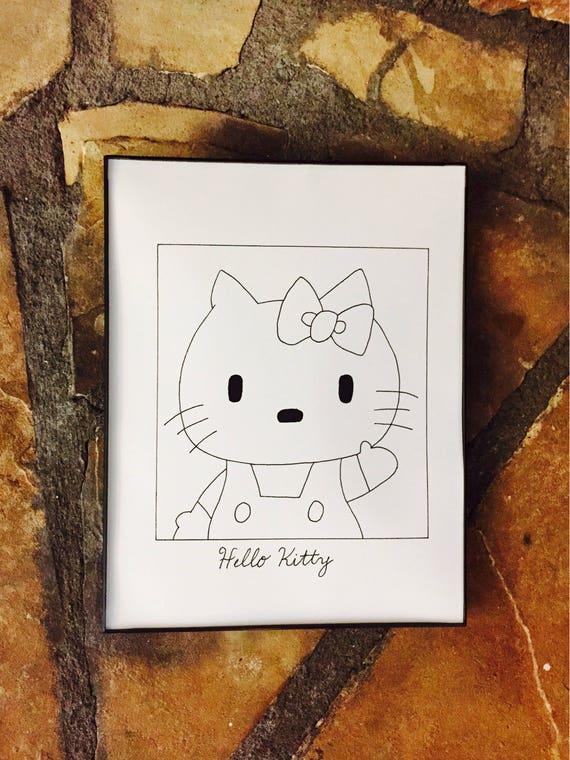 subpar hello kitty drawing print sanrio cartoon poster etsy