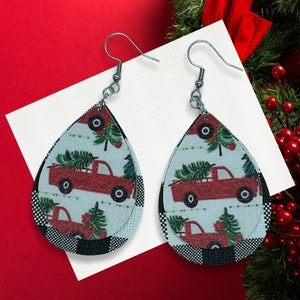 Mini White Twisted Christmas Tree Faux Leather Earrings