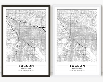 graphic regarding Printable Map of Tucson Az referred to as Tucson arizona map Etsy