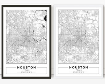 image relating to Houston Map Printable identify Houston map Etsy