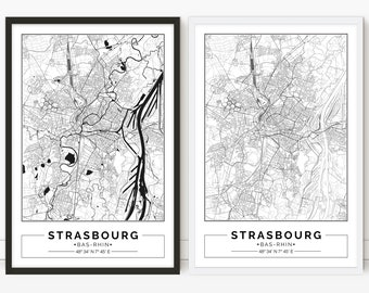 Strasbourg, France, City map, Poster, Printable, Print, Street map, Wall art