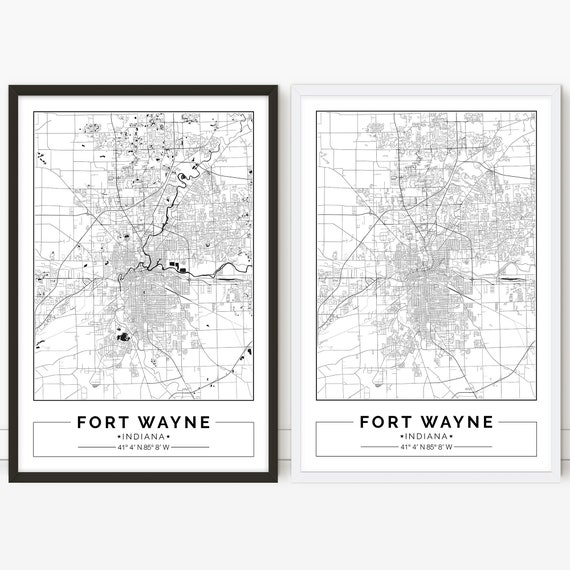 photo regarding Printable Map of Indiana identified as Fort Wayne map, Indiana, Metropolis map, Electronic Poster, Printable, Wall artwork, metropolis map print