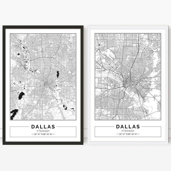 Map Of Texas City.Dallas Map Tx Texas City Map Digital Poster Printable Wall Art City Map Print