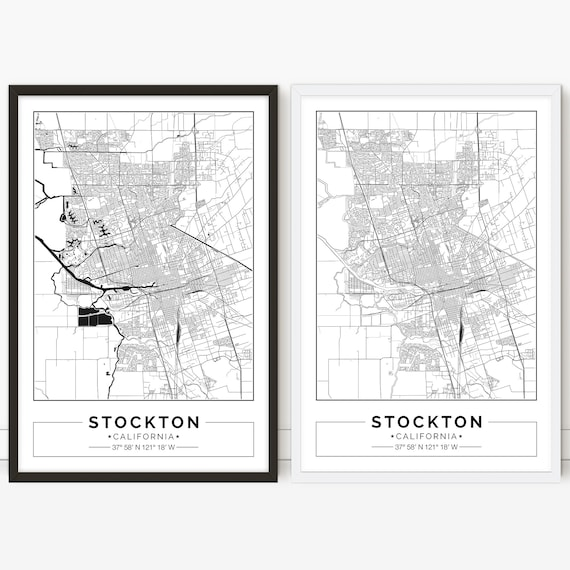 Stockton map, California, City map, Digital Poster, Printable, Wall art,  city map print