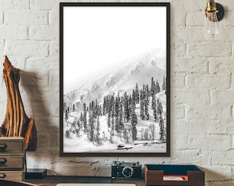 Mountain Print, Black And White, Poster, Printable, Print, Gift idea, Wall art, Photography Print