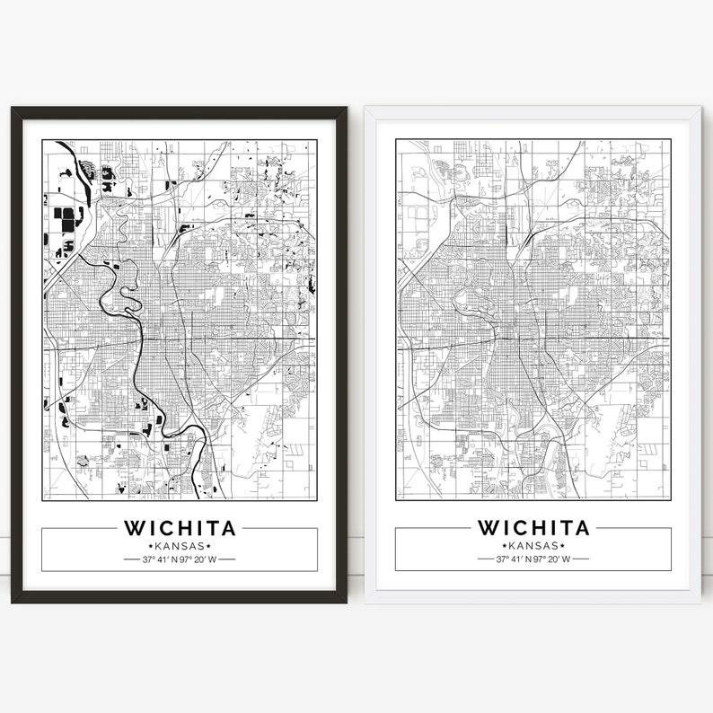 photo relating to Printable Map of Kansas named Wichita map, Kansas, Metropolis map, Electronic Poster, Printable, Wall artwork