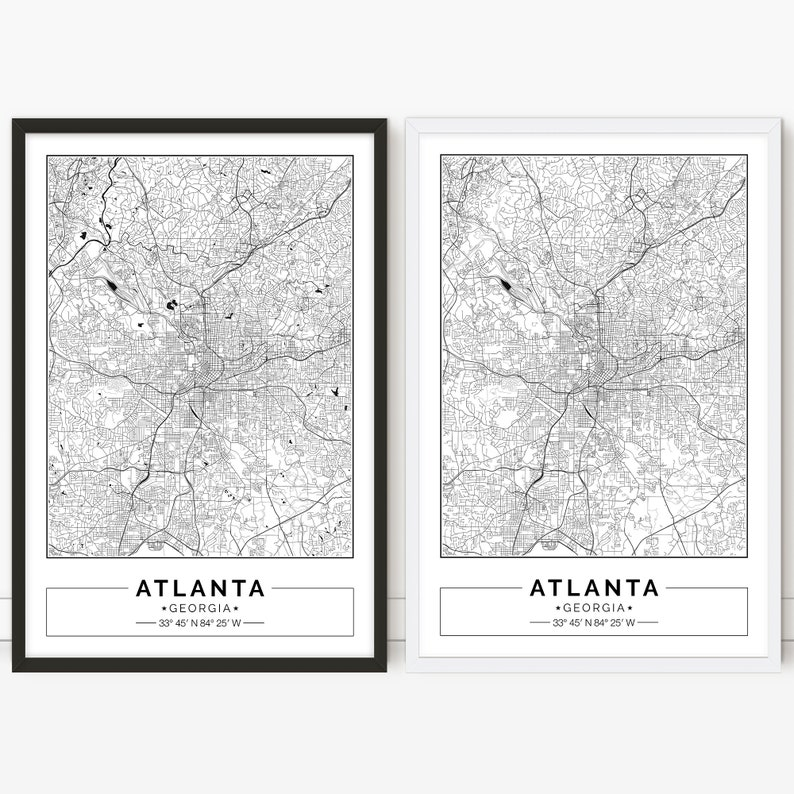 photograph relating to Printable Map of Georgia titled Atlanta map Georgia, Ga, Metropolis map, Electronic Poster, Printable, Wall artwork, metropolis map print