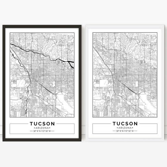 Tucson Arizona Karte.Tucson Map Arizona City Map Poster Printable Wall Art City Map Print