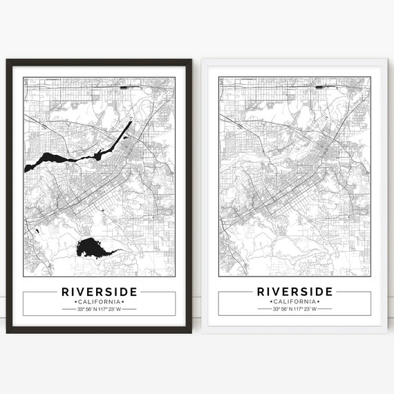 Riverside map, California, Digital City map, Poster, Printable, Wall art,  city map print