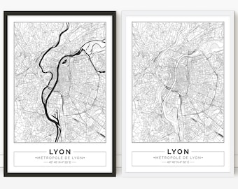 Lyon, France, City map, Poster, Printable, Print, Street map, Wall art