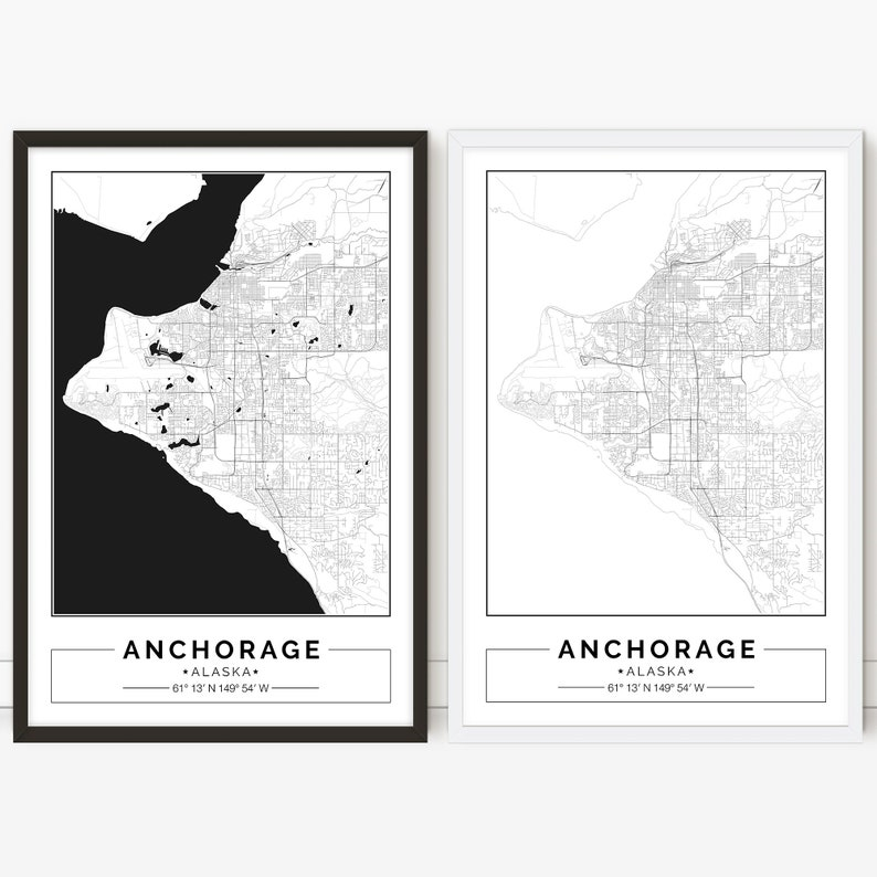 photo regarding Printable Maps of Alaska titled Anchorage map, Alaska, Metropolis map, Electronic Poster, Printable, Wall artwork, town map print