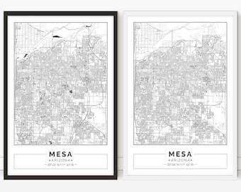 Mesa map, Arizona, digital poster, City map, Printable, Wall art, city map print