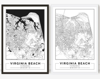 Virginia Beach map, Virginia, digital poster, City map, Printable, Print, Street map, Wall art, city map print