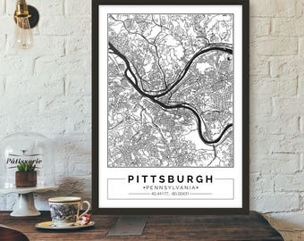 Pittsburgh, Pennsylvania, City map, Poster, Printable, Print, Street map, Wall art