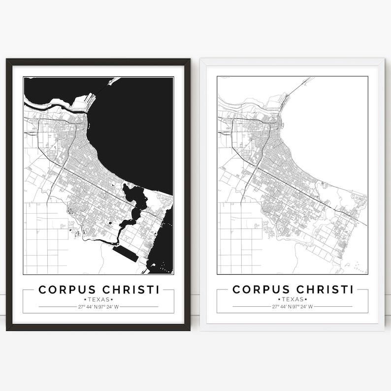 Corpus Christi Map Of Texas.Corpus Christi Map Texas City Map Digital Poster Printable Wall Art City Map Print