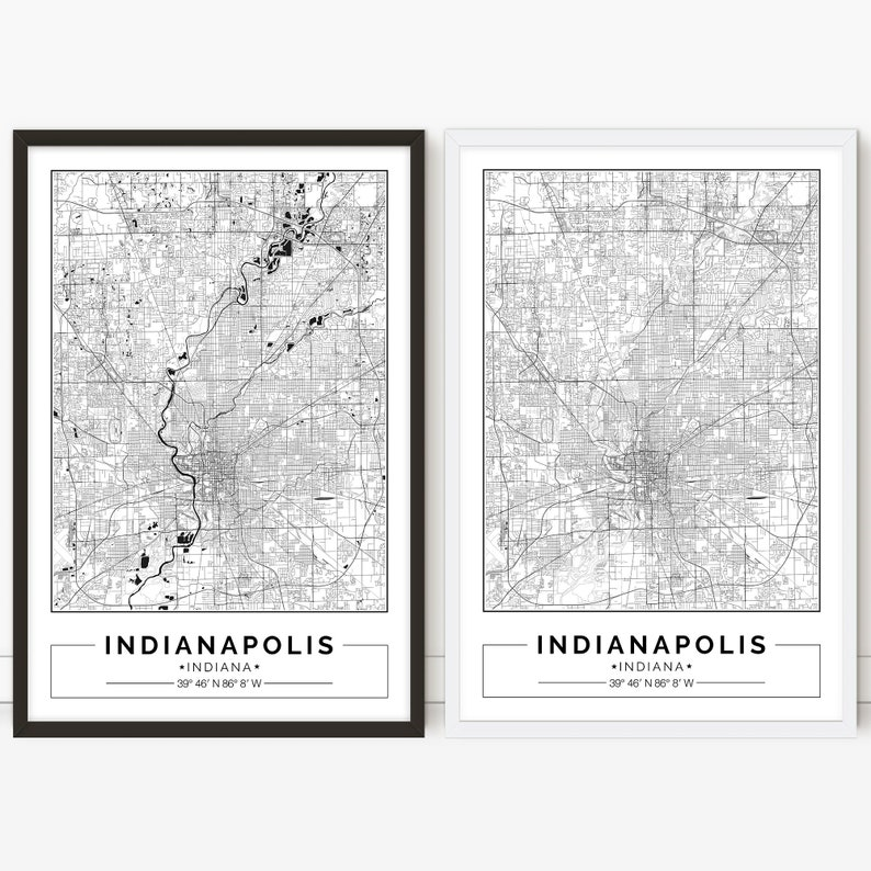 Indianapolis map Indiana City map Digital Poster | Etsy on
