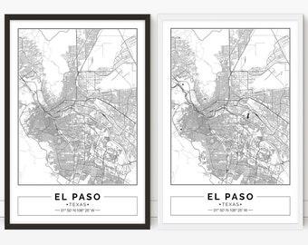 El Paso map, Texas, City map, Digital Poster, Printable, Wall art, city map print