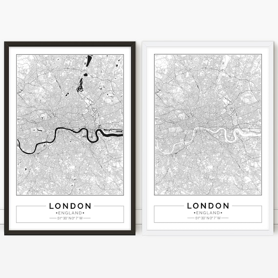 High Resolution London Street Map.London England City Map Poster Printable Print Street Map Wall Art
