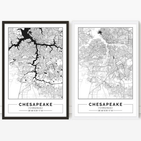 photograph relating to Printable Maps of Virginia known as Chesapeake map, Virginia, Town map, Electronic Poster, Printable, Wall artwork, metropolis map print