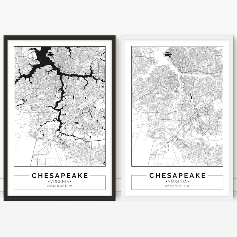 photo about Printable Map of Virginia referred to as Chesapeake map, Virginia, Town map, Electronic Poster, Printable, Wall artwork, town map print