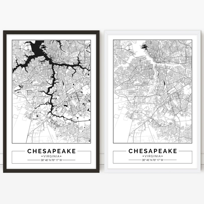 image regarding Printable Map of Virginia referred to as Chesapeake map, Virginia, Town map, Electronic Poster, Printable, Wall artwork, town map print